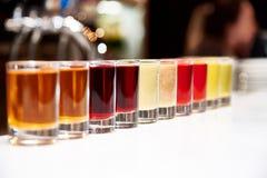 Multicolored alcoholische schoten stock fotografie