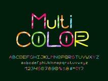 Multicolored Alfabet met diagonale decoratieve lijnen Vectorletters, getallen en leestekens stock afbeelding