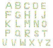 Multicolored alphabet from children`s mosaic Letters, ABC stock photography