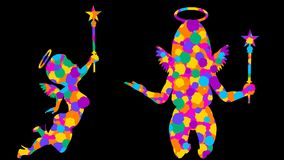 Multicolored angels. 21 loop animations. Alpha channel. Alpha matte. Full HD. stock footage