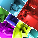 Multicolored apartment. Aerial shot of 3D-rendering of a roofless apartment with rooms in different lively colors Stock Image