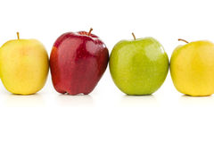 Multicolored apples in a row on a white table. On a white background Stock Image