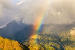 Multicolored Arc, Aerial View. Aerial View Of An Rainbow Over Andean Mountains, South America Royalty Free Stock Image