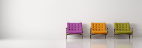 Multicolored armchairs against of white wall  panorama 3d render Royalty Free Stock Images