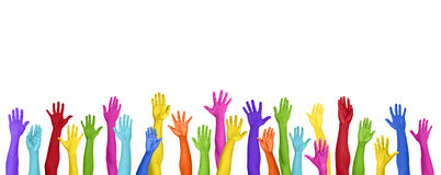 Multicolored Arms Outstretched Copy Space Expressing Positivity Royalty Free Stock Images