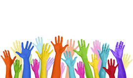 Multicolored Arms Raised and Copy Space Stock Photos