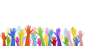 Multicolored Arms Raised and Copy Space Concept Royalty Free Stock Photography