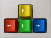 Multicolored arrows (computer keyboard). Red, green, blue, yellow Stock Photo