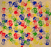 Handprint. Multicolored art from Hand prints Stock Photos