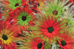 Multicolored artificial flowers beautiful background Royalty Free Stock Photography