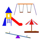 Multicolored attractions playground elements. Stock Photos