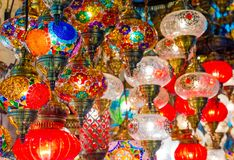 Free Multicolored Authentic Lamps Grand Bazaar In Istanbul Stock Photography - 144473412