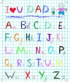 Multicolored baby sketch hand drawn doodle alphabet letters on squared note pad page isolated vector illustration with I love you. Multicolored baby sketch hand Stock Image