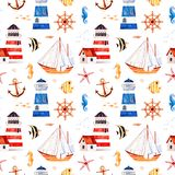 Multicolored background with cute sailor bear,anchor,lighthouses,coral fishes. Nautical watercolor seamless pattern.Multicolored background with cute sailor bear stock illustration