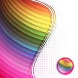 Multicolored background in frame. Rainbow multicolored abstract bright background in frame with glossy button Stock Photo