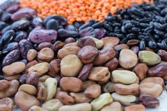 Multicolored background of healthy vegan vegetarian grain food cereal bean lentils ingredients mix. Multicolored background of organic vegan vegetarian grain stock images