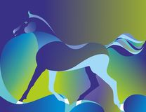 Multicolored background with horse. Vector illustration of a blue horse on a multicolored background Royalty Free Illustration