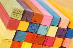 Multicolored background made of art tools - colorful pastel chalks Royalty Free Stock Photos