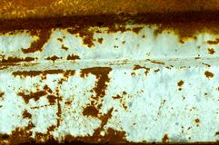 Multicolored background: rusty metal surface with blue paint flaking and cracking texture Stock Photography