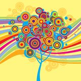 Multicolored background with a tree Stock Photography
