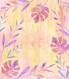 Multicolored background of watercolor stains, exotic leaves and twigs Stock Photo