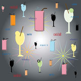 Multicolored background with wine glasses. Stock Photo