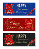 Multicolored backgrounds for Women& x27;s Day. Happy International Women& x27;s Day banner set. Set of abstract  multicolored christmassy backgrounds for Women& Stock Image