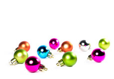 Multicolored ballen van de Kerstmisboom met exemplaarruimte Stock Afbeeldingen
