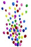 Multicolored ballons die 3D verjaardag vieren, Stock Foto