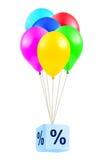 Multicolored ballons met percentage Stock Afbeelding
