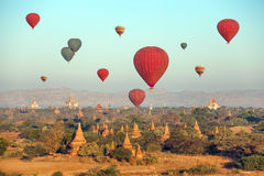 Multicolored Ballonstempels Bagan Stock Afbeeldingen