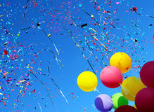 Multicolored Balloons And Confetti Stock Images