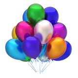 Multicolored balloons birthday party decoration colorful. Multicolored balloon birthday party decoration. Colorful balloons bunch glossy. Happy holiday royalty free illustration