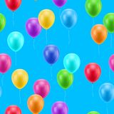 Multicolored balloons blue background seamless. Multicolored balloons on a blue background seamless background for designers and illustrators. A lot of gasbags Royalty Free Stock Photos