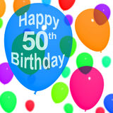 Multicolored Balloons For Celebrating A 50th or. Fiftieth Birthdays Royalty Free Stock Photos