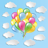 Multicolored balloons with clouds collection on a blue ba Royalty Free Stock Images