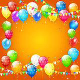 Multicolored balloons and confetti on orange background. Frame of flying colorful balloons, multicolored pennants and confetti on orange background, illustration Royalty Free Stock Images