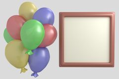 Multicolored balloons and frame for photo 3d render illustration. Set, collection stock illustration