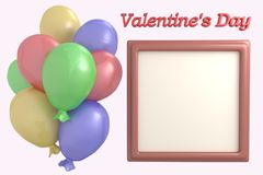 Multicolored balloons and frame for photo 3d render, Valentine`s Day. Set, collection stock illustration