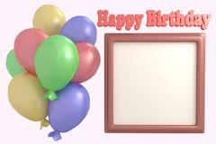 Multicolored balloons and frame for photo Happy Birthday 3d render illustration. Set, collection vector illustration