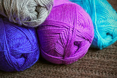 Multicolored balloons of knitting yarn Royalty Free Stock Photography