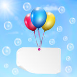 Multicolored balloons with paper card Royalty Free Stock Photos