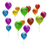 Multicolored balloons with percent symbols Royalty Free Stock Photography