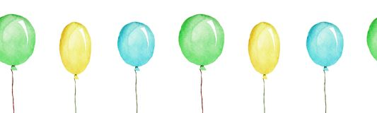 Multicolored balloons, seamless patternn, watercolor illustration isolated vector illustration
