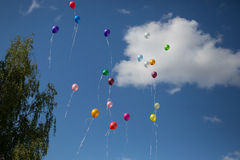 Multicolored balloons in the sky Royalty Free Stock Image