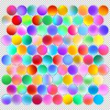 Multicolored balls for design. LED balls of various colors with a glow on a transparent background. Neon spheres for festive decoration for the New Year Royalty Free Stock Photos