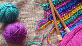 Multicolored balls of yarn for knitting and crochet Royalty Free Stock Image
