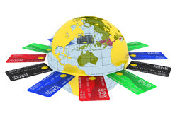 Multicolored bank cards around the Earth Royalty Free Stock Image