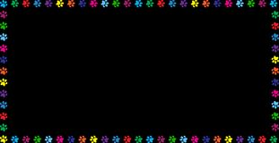 Multicolored banner made of rainbow animal paw prints. Multicolored rectangle frame work made of rainbow vibrant colored animal s paw prints isolated on black Stock Image