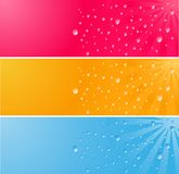 Multicolored Banner With Waterdrops Stock Photos